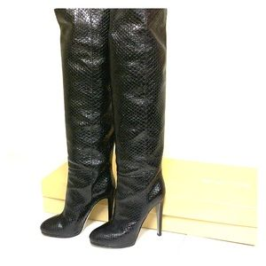 Sergio Rossi python skin over-the-knee boots